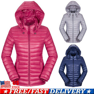 Women Winter Quilted Padded Puffer Bubble Hooded Zip Lightweight Coat Jacket USA