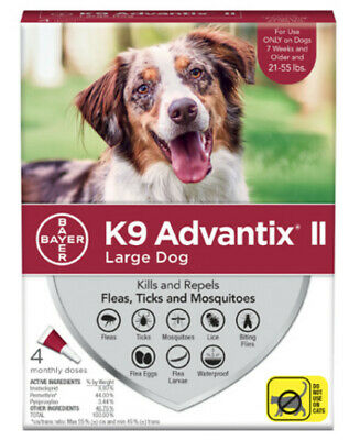 K9 Advantix II for Large Dogs 21 - 55 lbs, 4 Month Supply