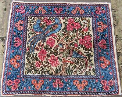 SMALL ANTIQUE SOUTH PERSIANn KERMAN BIRDS OF PARADISE RUG MAT JEWEL-LIKE COLOURS