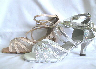 Ladies Silver or Nude Ballroom, Latin, Salsa, Jive Dance Shoes - UKSizes 4 - 7.5