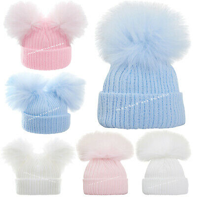 Baby Girls Boys Knitted Pompom Hats New Born Pink Blue White Fur Bobble Cap