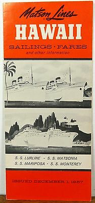 1957 Matson Lines Hawaii vintage sailings schedules fares brochure b