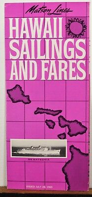1963 64 Matson Lines Hawaii vintage Sailing Schedules Fares travel brochure b