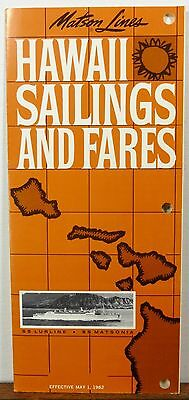 1962 Matson Lines Hawaii vintage sailings schedules fares brochure b
