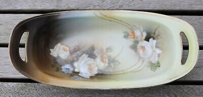 Antique RS Suhl Prussia roses pattern dish with handles  - circa 1910