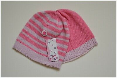 Baby Girls Pink and Striped Two Pack Beanie Hats 12-24 Months