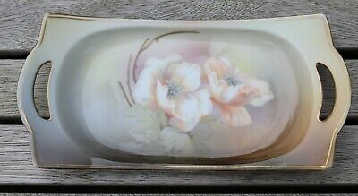 Antique RS Suhl Prussia roses pattern rectangular dish with handles - circa 1910