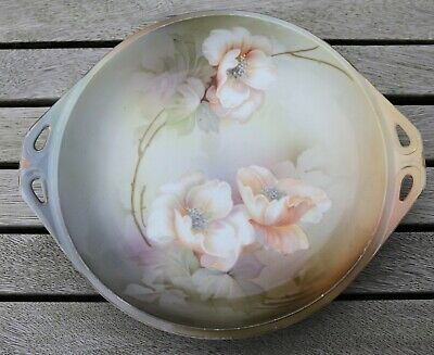 Antique RS Suhl Prussia roses pattern plate/dish with handles - circa 1910
