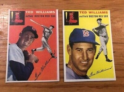 (2) 1954 Topps TED WILLIAMS #1 & #250 Boston Red Sox Reprint Card Lot MINT HOF