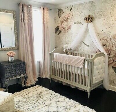 Gold Canopy Crown With Drapes Cot Bed Wall Voile Drape Princess Bedroom Decor
