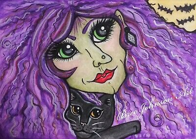 ORIGINAL ACEO Halloween purple witch black cat moon watercolor fun Bree Johnson