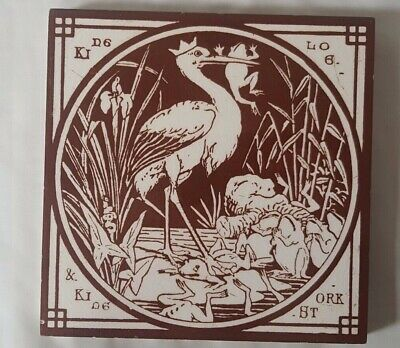 Stunning Moyr-Smith Minton Narrative Stork & Frogs Design Antique 6 Inch Tile