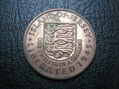 Island of Jersey Liberated 1945 ~ King George VI ~ 1/12 of Shilling ~ Penny Coin