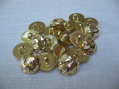 "Lot of 20 Gold Plastic Shank Buttons 9/16"" Nugget Look Round Dome Top Decorative"