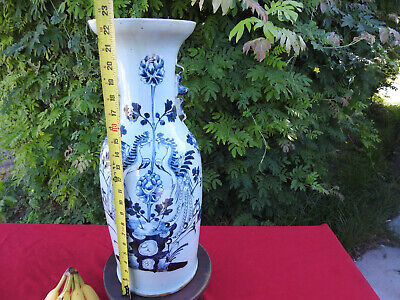 antique chinese celadon and underglaze blue temple vase 19th century