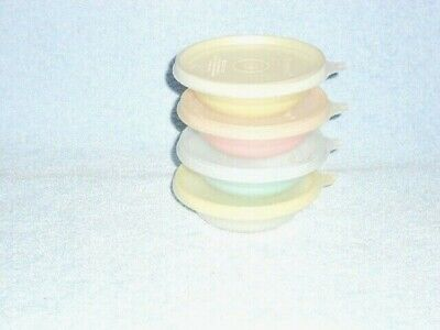 4 Vintage Tupperware Mini Pastel berry bowls #154 with Lids, Desserts Snacks