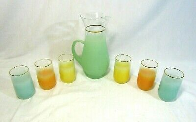 Frosted Pastel  BLENDO  Pitcher & 6 Tumblers  1960's Mid Century Vintage Bar Set