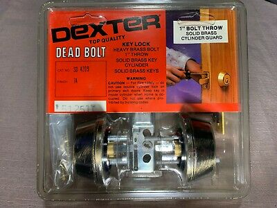"Dexter Old Heavy Antique Brass Double Cylinder Deadbolt, Fits Also 1"" Steel Door"