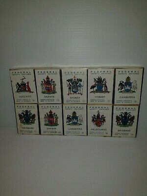 Collectable matchboxes federal safety matches aus.state. coat of arms x10 packet