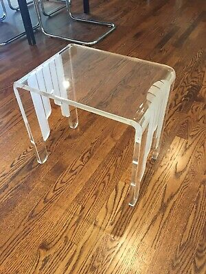 Vtg. Mid Century Modern Heavy Solid Lucite Acrylic Side Table Frosted Lines