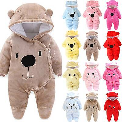 Newborn Baby Girl Boy Fleece Hooded Romper Jumpsuit Winter Warm Outfits Clothes