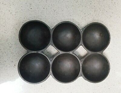 ANTIQUE CAST IRON Primitive Unmarked 6 Muffin Tart Pan