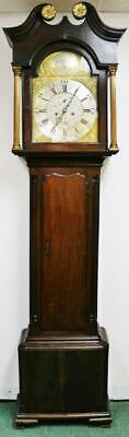 Antique 18thC Scottish 8 Day Brass Dial Regulator Longcase Grandfather Clock