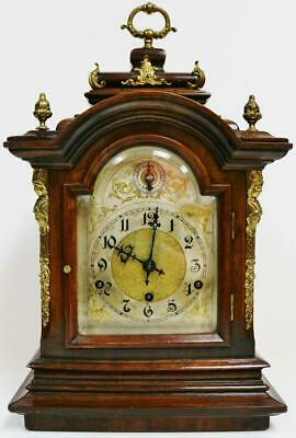 Antique German 8 Day Carved Mahogany Westminster Chime Musical Bracket Clock