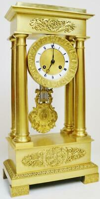 Rare Antique French Empire 8 Day Striking Bronze Ormolu Portico Mantel Clock