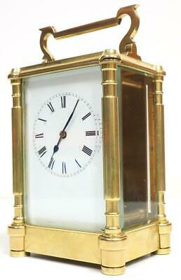 Large Antique French Carriage Clock 8 Day Beveled Pillar Timepiece Mantel Clock