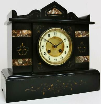 Antique French 8 Day Gong Striking Architectural Slate & Marble Mantel Clock