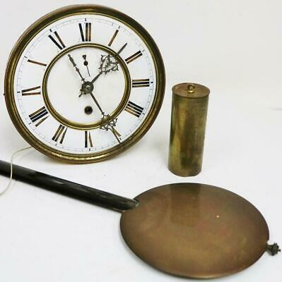 Antique German 8 Day Single Weight Vienna Wall Clock Movement Spares Or Repair