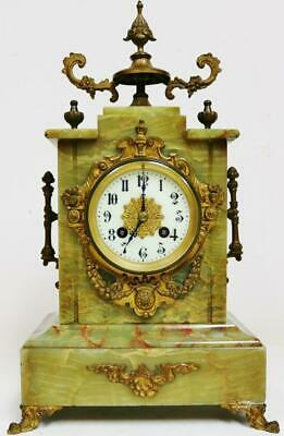 Antique French 8Day Architectural Green Onyx & Bronze Bell Striking Mantel Clock
