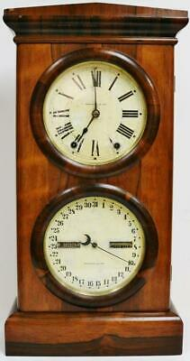 Rare Antique Seth Thomas 8 Day Bell Striking Walnut Combination Calendar Clock