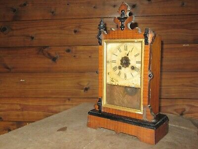 "Vintage Antique Mantel Clock Wooden Base Spares Repair Clockwork 14"" Tall"
