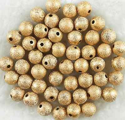 50Pcs 10mm Gold Acrylic Stardust Metallic Glitter Spacer Loose Beads
