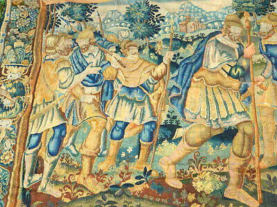 Large 10.7 Ft X 8.3 Ft Antique French Framed Border Wool Tapestry Soldier Scene