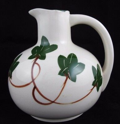 Vintage Hand Painted Green Ivy Pottery Ceramic Water Wine Jug Pitcher NASCO