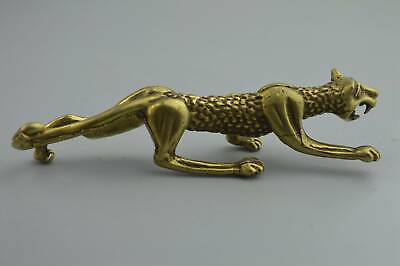 Chinese Collectable Handwork Old Copper Carve Roar Leopard Exorcism Evil Statue