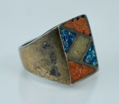 Native American Sterling Turquoise Coral Silver Old Pawn Heavy Vintage Ring Fred