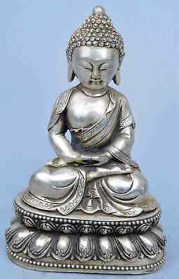 China Handwork Collectable Miao Silver Carve Buddha Sit Lotus Pray Tibet Statue