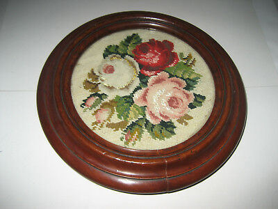 Antique Victorian Mahogany Tea Pot Stand with Glazed Tapestry Insert, Brass Cast