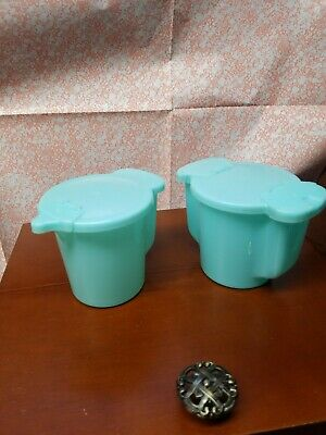 Vintage Tupperware blue and Creamer Set 577 & 574 – Flip Lids, very nice!