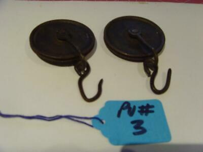 PU#3 Pair of  Early 8 day  long case clock weight pulleys