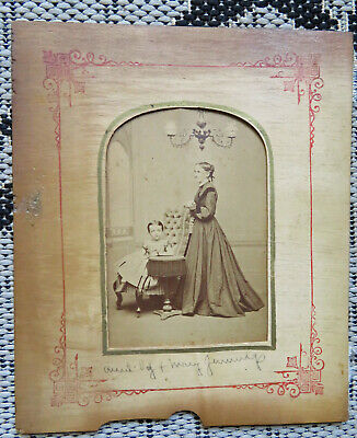 Antique Early Victorian Cabinet Card Photo- Gas Chandelier- Little Girl-Wood Mat