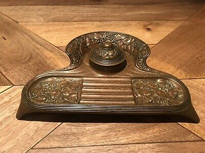 Stunning Large Arts And Crafts Art Nouveau Antique Ink Well Pen Holder
