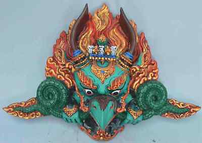 Collectable China Handwork Decor Old Lacquer Carve Eagle Man Auspicious Statues