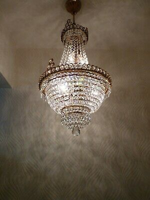 Vintage 6 light Brass & Crystal Old Basket Chandelier