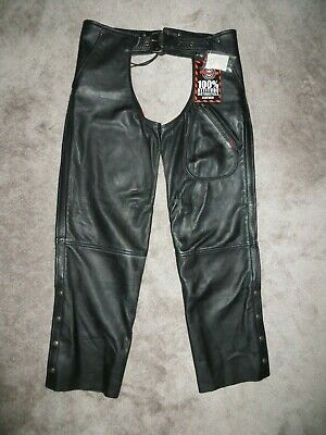 "Milwaukee NWT Black Leather Moto Chaps  L  36 - 38""  X  32""  or shorter"