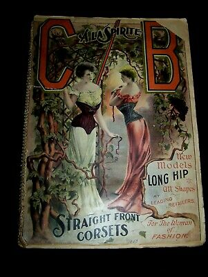 110 Old Antique 1900-25  Woman's Corset Print Ads Mounted Scrap Book Style